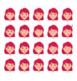 woman emotions emoji of girl good bad mood vector image vector image