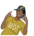 Young african american man dj hip-hop eps10 vector image vector image