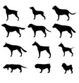 dog silhouette icon pet set isolated animal black vector image