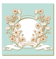 Vintage card with flowers around the frame vector image