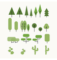 Flat tree set vector image