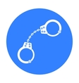 Handcuffs icon in black style isolated on white vector image