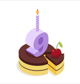 Birthday 9 years Cake and Candle isometrics Number vector image