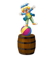 a clown showing some tricks vector image