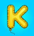 air balloon in shape of letter k pop art vector image vector image