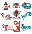 atelier and tailor service isolated icons vector image vector image