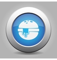 blue metal button - hamburger with melted cheese vector image