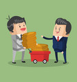 businessmens with money on cart vector image vector image