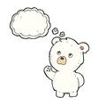 cartoon waving polar bear with thought bubble vector image vector image