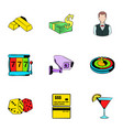 casino icons set cartoon style vector image