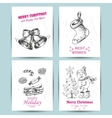 Christmas greeting card with bells snowman candy vector image