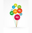 color balloons sale discount concept vector image vector image
