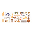 colorful collection various musical instruments vector image vector image