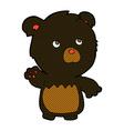 comic cartoon black teddy bear vector image vector image