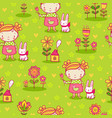 cute girl and flowers seamless pattern vector image