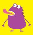 cute violet monster icon happy halloween cartoon vector image