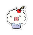 distressed sticker of a cartoon cupcake vector image vector image