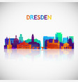dresden skyline silhouette in colorful geometric vector image vector image
