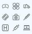 drug icons line style set with patch vitamin vector image