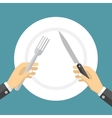 Empty plate and hands holding knife and fork vector image vector image