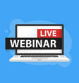 free webinar play online button in laptop vector image vector image