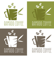 green bamboo cup with coffee and leaves design vector image vector image