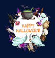 halloween witch and wizards with ghosts bats owl vector image vector image