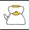 handdrawn kettle doodle icon vector image
