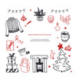 hello winter and merry christmas hand drawn vector image
