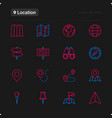 location thin line icons set vector image