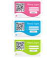 login form in a shape of badge with qr code vector image vector image