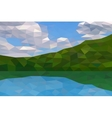 Low poly river and green hills vector image vector image