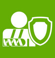 oken arm and safety shield icon green vector image vector image