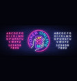 online poker logo in neon style design a vector image