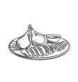 peking duck chinese cuisine outline icon vector image