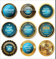 quality gold and blue retro badge collection vector image vector image