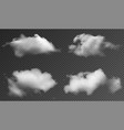 realistic fluffy clouds isolated on transparent vector image vector image