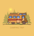 recreational vehicle moving through forest vector image vector image
