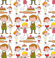 Seamless background with chefs and bakers vector image