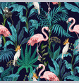 seamless pattern with jungle trees flamingo vector image vector image