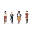 set girls with modern casual clothes vector image
