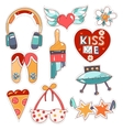 set quirky cartoon patch badges vector image vector image