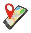 Smartphone with GPS navigator cartoon icon vector image