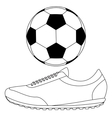 Soccer ball and Running shoes icon vector image vector image