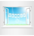 Summer Banner Hanging Out Of Window vector image vector image