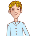 Teenager cartoon boy with curly hair vector image