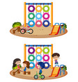 two playground scenes with and without kids vector image vector image