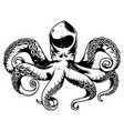 vintage octopus with tentacles vector image