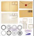 vintage postcard designs envelopes and black vector image vector image