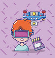 virtual reality headset cartoon vector image